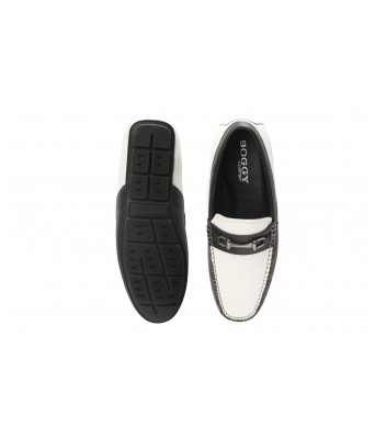 Boggy Confort Stylish Black And White Color Slip on Loafers for Mens & Boys