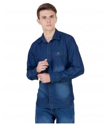 Real Cotton Men's Full Sleeve Dark Blue Denim Shirt