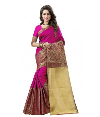 Ethnikaaz Fancy Jacqurd Cotton Saree_EM-JQ-03-PINK