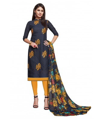 Dark Blue Party Cotton Jacquard Unstitched Dress Material With Dupatta