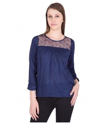 iroo Lifestyle Dark Blue Lace Womens Top