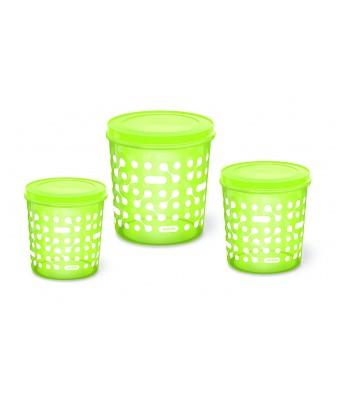 Milton Plastic Storex Container Set of 3 (5L, 7L, 10L) (Neon Green)