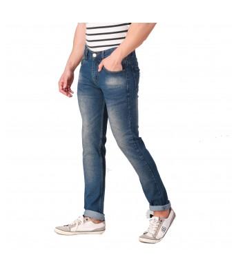 Ansh Fashion Wear Mens Regular Fit Denim Strechable Round Pocket Light Faded Dark Blue Jeans