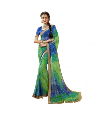 Triveni Blue  Green Georgette Casual Wear Lace Border Saree