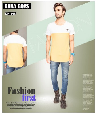 Ansh Fashion Wear Stylish Round Neck Striped Half Sleeves Yellow & White Color T-Shirt for Mens & Boys
