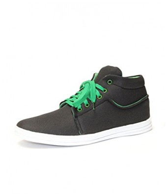 Molessi Canvas Ankle Black & Green Casual Shoes