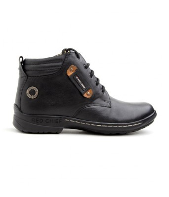 Red Chief Black High Ankle Length Shoes