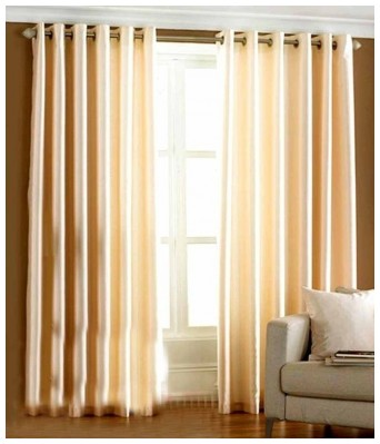 Glamkart Fancy Eyelet Cream Crush Curtain (Set Of 2)
