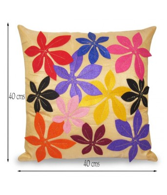 Felt Flower Emboidered Beige Cushion covers Set Of 5 (40X40 cms)