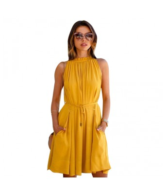 StarShop20 Yellow Solid A-line Empire Waist Gathered Fit and Flare Dresses