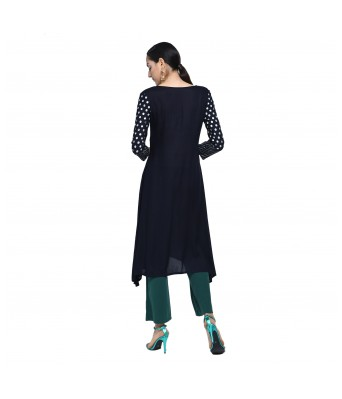 V Brown Womens Rayon Flarred Anarkali  Blue Color Block Print Angrakha Kurti