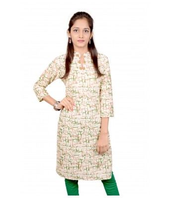 V Brown Womens Green Color Cotton Straight Printed 3/4 Sleeve Womens Kurti