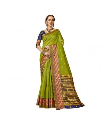 Shakunt Green Art Silk Festival Wear Woven Saree