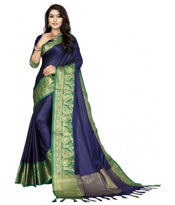 KDHSarees Women's Banarasi Cotton Silk Saree With Blouse Piece.