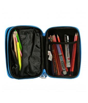Fancy Double Compartment Pencil Case (Black)