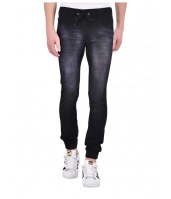 Ansh Fashion Wear Mens Denim Jogger - Regular Fit - Black - Wisker