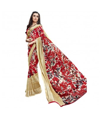 Triveni Red Faux Georgette Everyday Wear Printed Sarees