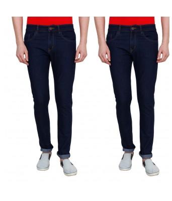 Ridge Vogue Mens Slim Fit 2 Navy Blue Denim Jeans combo