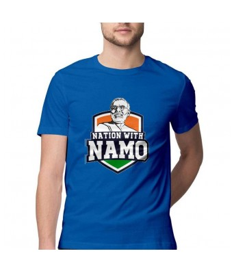 Hyper Take Mens NATION WITH NAMO Round Neck Royal Blue Color