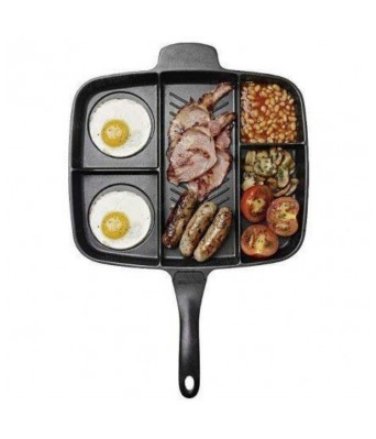 AJSCOP Double Sided Magic Frying Pan  Non-Stick 5 in 1 Fry Pan Divided Grill Fry Oven Meal Skillet