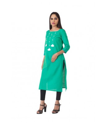The Signature Attire Pure Cotton Sky Blue Color Kurti with buttons and Tassels