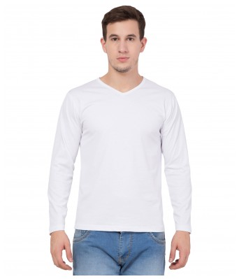 American-Elm Men's White  Solid V-Neck Slim Fit Full Sleeve T-Shirt