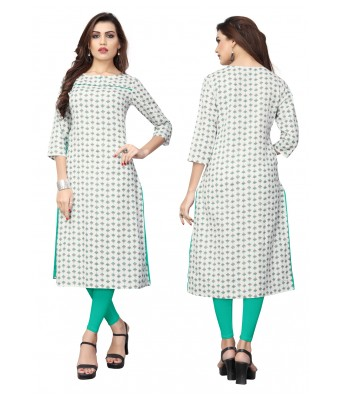 Off White Plain & Embroidered Flex Cotton Full Stitched Kurtis - RK Fashions