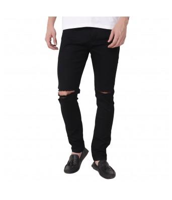 Ridge Vogue Slim Men Black knee cut Jeans