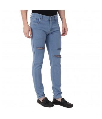 Ridge Vogue Slim Men Light Blue knee cut Jeans