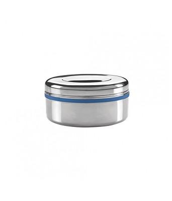 Milton Supreme Big Single Container Snacks Box, Steel Plain Color Steel + Blue 300ml