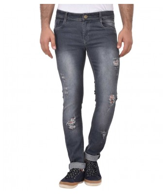 AFW Mens Grey Strechable Distressed Denim Jeans