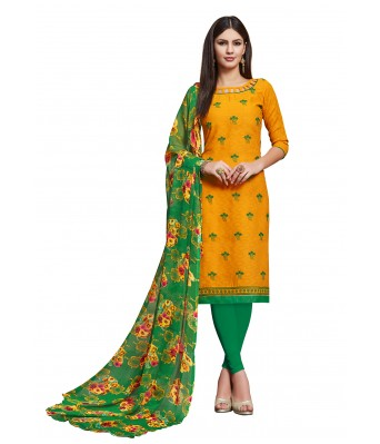 Yellow Party Cotton Jacquard Unstitched Dress Material With Dupatta