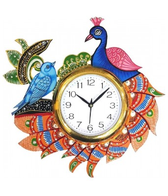 V Brown Multi Color Rajasthani Designer Wooden Analog Wall Clock