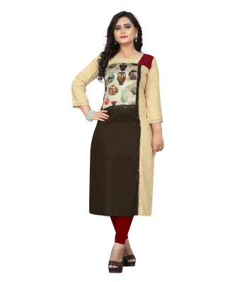 Multi Color Printed & Hand Work Rayon Full Stitched Kurtis - RK Fashions