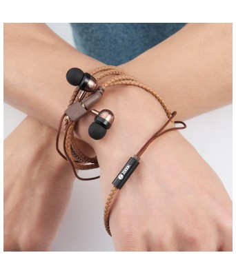 Zoook Rocker WBD-BR Wristband in-Ear Wired Earphones with Mic (Brown)