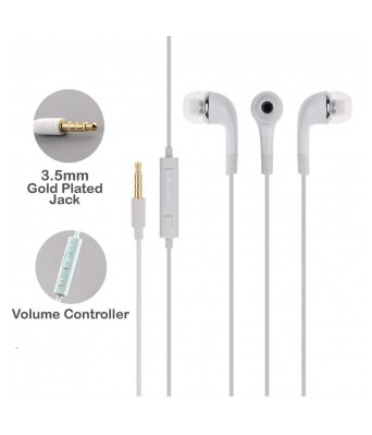 GLAMPANDA EHS64 YR Samsung Handsfree 3.5 mm Jack Mp3 Earphones with Mic for Samsung Galaxy Series Mobiles/Universal 3.5mm Jack in The Earphone for All Samsung Phones/Handfree/Headset - White