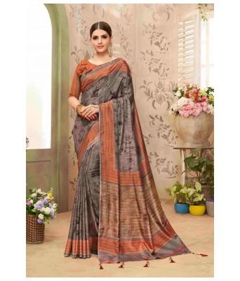 Triveni Grey Chanderi Silk Festival Wear Printed Saree with Blouse Piece