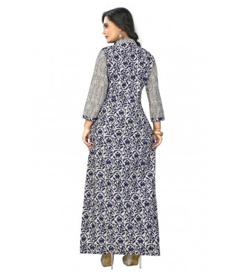 Blue  Embroidered Cotton Full Stitched Kurtis - RK Fashions