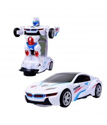 Bingo Gift Gallery Presents Robot Sports Car Toy with Convertible Robot with Lights, Music & Bump & Go Function for Kids, White