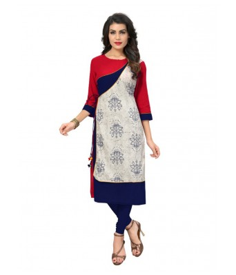 Multi Color Printed Cotton Full Stitched Kurtis - RK Fashions