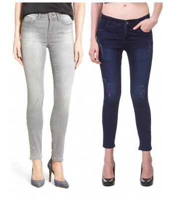 Ansh Fashion Wear Grey & Blue Color Present Women Strechable Denim Jeans Regular Fit Pack of 2