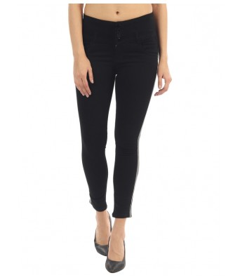 Veravibe Side Strip Denim Stretchable Jeans for Women - Black-28