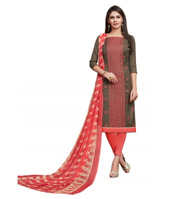 Gray Party Cotton Jacquard Unstitched Dress Material With Dupatta