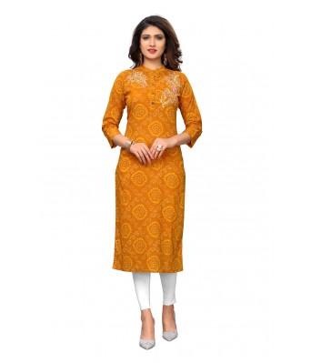Yellow Printed & Gotapatti Cotton Full Stitched Kurtis - RK Fashions