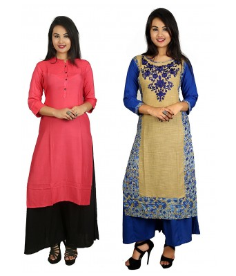 Rasberry Pink and Dark Blue Color Stylish Casual 2 Kurti With 2 Palazzo Set Combo