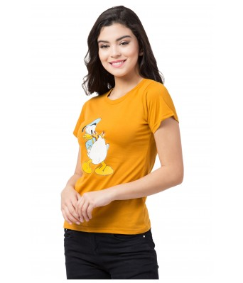 Mustard with Donald Duck Print T-Shirt for Women