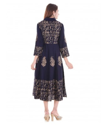 V Brown Block Print Rayon Blue Color Designer Womens Anrakha Kurti