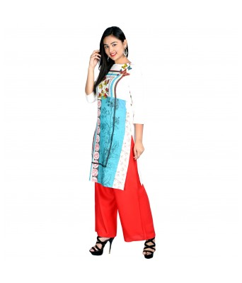 White Blue and Printed Blue Designer Stylish Casual 2 Kurti With 2 Palazzo Set Combo
