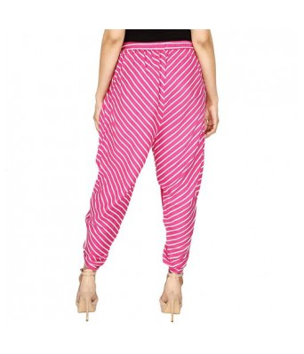 Khazanz Basics Striped Pink Color Rayon Dhoti Pant Trouser for Women & Girls