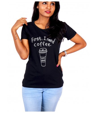 iLyk first,i need a coffee. Printed Jet Black Cotton T-Shirt
